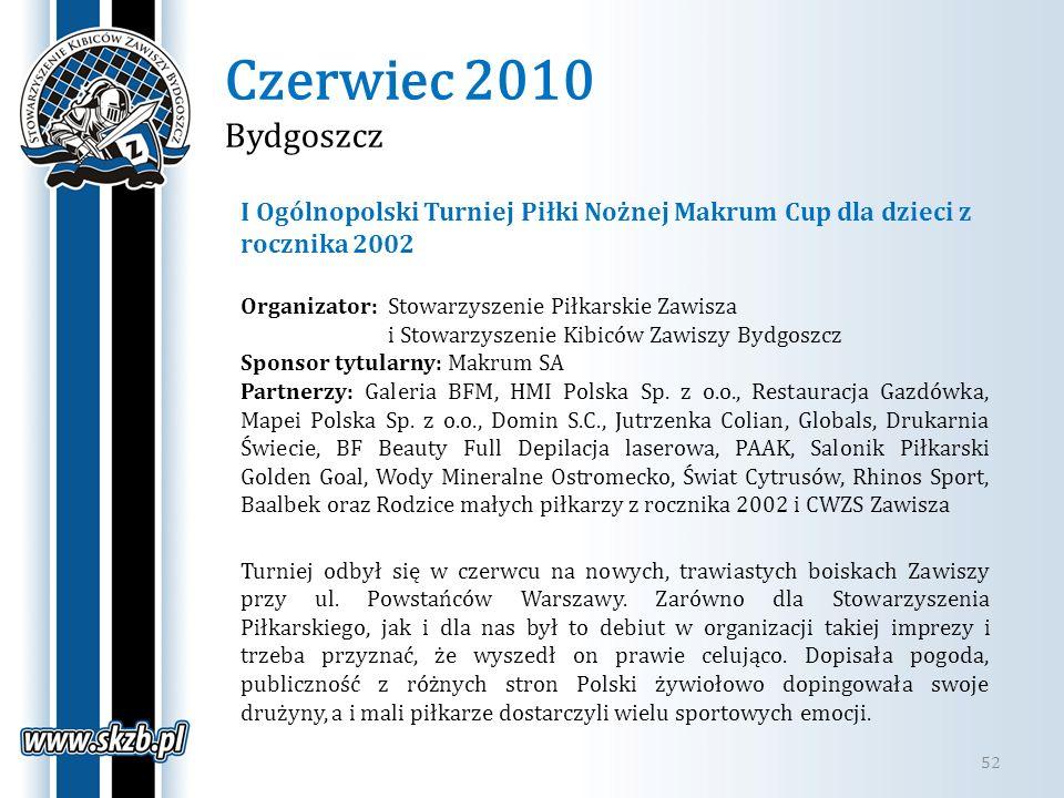Czerwiec 2010 Bydgoszcz 52 I Ogólnopolski Turniej Piłki Nożnej Makrum Cup dla dzieci z rocznika 2002 Organizator: Stowarzyszenie Piłkarskie Zawisza i