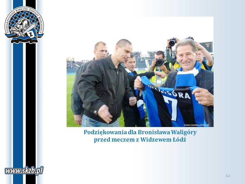 Podziękowania dla Bronisława Waligóry przed meczem z Widzewem Łódź 62