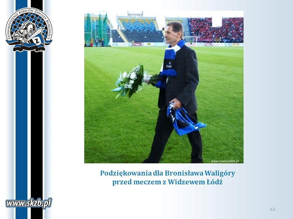 Podziękowania dla Bronisława Waligóry przed meczem z Widzewem Łódź 63
