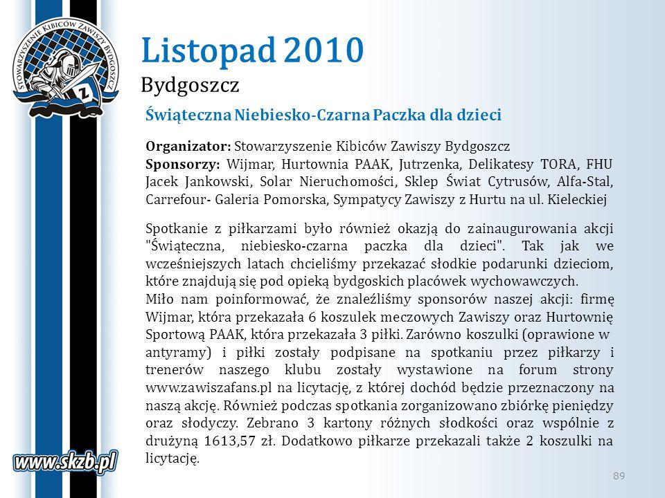 Listopad 2010 Bydgoszcz 89 Świąteczna Niebiesko-Czarna Paczka dla dzieci Organizator: Stowarzyszenie Kibiców Zawiszy Bydgoszcz Sponsorzy: Wijmar, Hurt