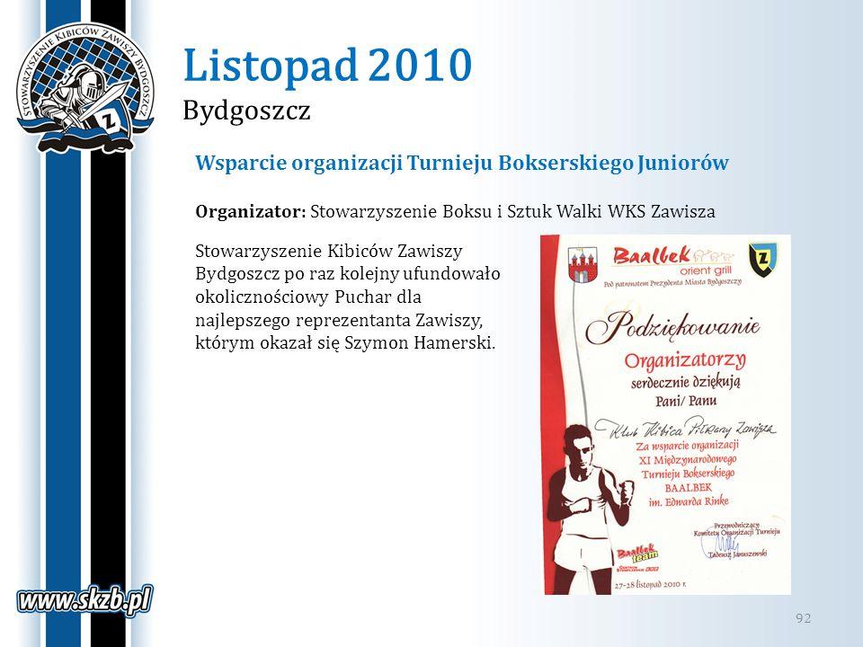 Listopad 2010 Bydgoszcz 92 Wsparcie organizacji Turnieju Bokserskiego Juniorów Stowarzyszenie Kibiców Zawiszy Bydgoszcz po raz kolejny ufundowało okol