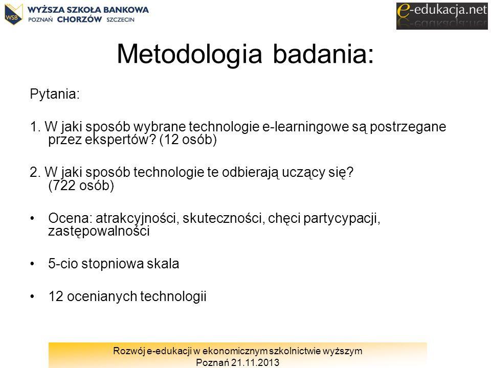 Rozwój e-edukacji w ekonomicznym szkolnictwie wyższym Poznań 21.11.2013 Metodologia badania: Pytania: 1. W jaki sposób wybrane technologie e-learningo