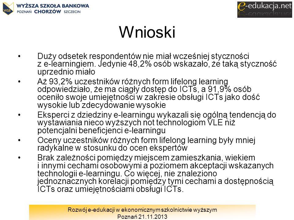 Rozwój e-edukacji w ekonomicznym szkolnictwie wyższym Poznań 21.11.2013 Wnioski Duży odsetek respondentów nie miał wcześniej styczności z e learningie
