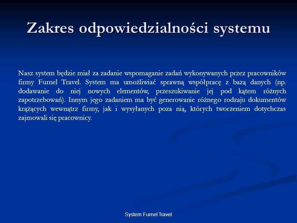 System Furnel Travel Zakres odpowiedzialności systemu Nasz system będzie miał za zadanie wspomaganie zadań wykonywanych przez pracowników firmy Furnel