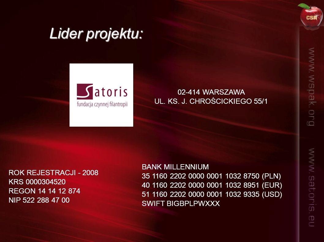 BANK MILLENNIUM 35 1160 2202 0000 0001 1032 8750 (PLN) 40 1160 2202 0000 0001 1032 8951 (EUR) 51 1160 2202 0000 0001 1032 9335 (USD) SWIFT BIGBPLPWXXX 02-414 WARSZAWA UL.