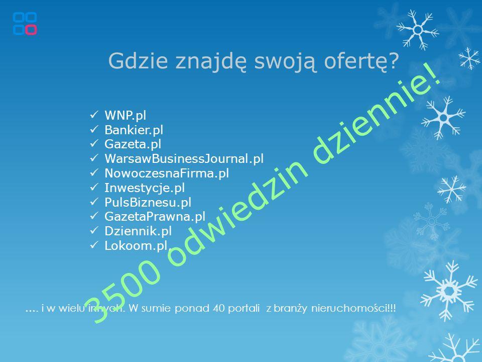 Gdzie znajdę swoją ofertę? …. i w wielu innych. W sumie ponad 40 portali z branży nieruchomości!!! WNP.pl Bankier.pl Gazeta.pl WarsawBusinessJournal.p