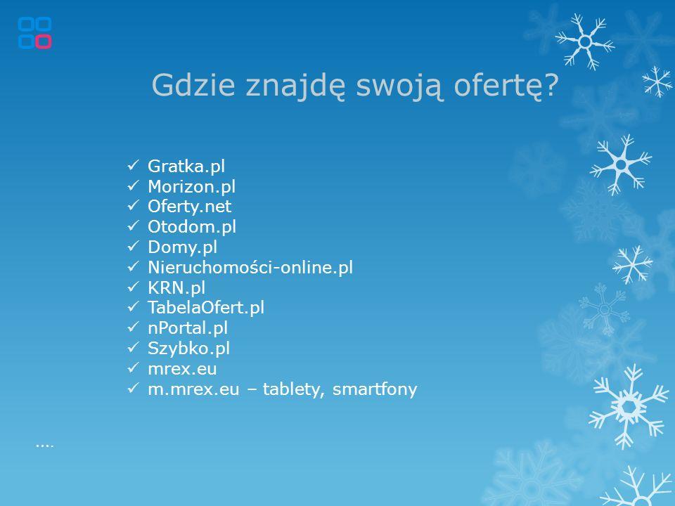 Gdzie znajdę swoją ofertę? Gratka.pl Morizon.pl Oferty.net Otodom.pl Domy.pl Nieruchomości-online.pl KRN.pl TabelaOfert.pl nPortal.pl Szybko.pl mrex.e