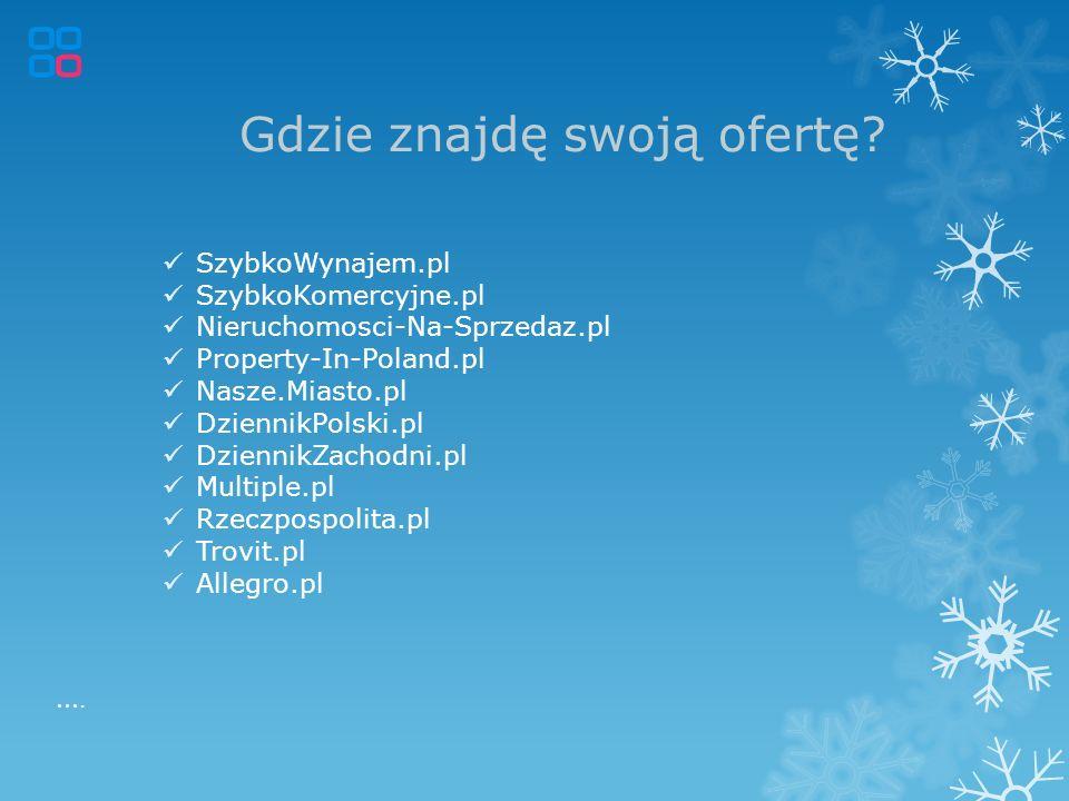 Gdzie znajdę swoją ofertę? SzybkoWynajem.pl SzybkoKomercyjne.pl Nieruchomosci-Na-Sprzedaz.pl Property-In-Poland.pl Nasze.Miasto.pl DziennikPolski.pl D