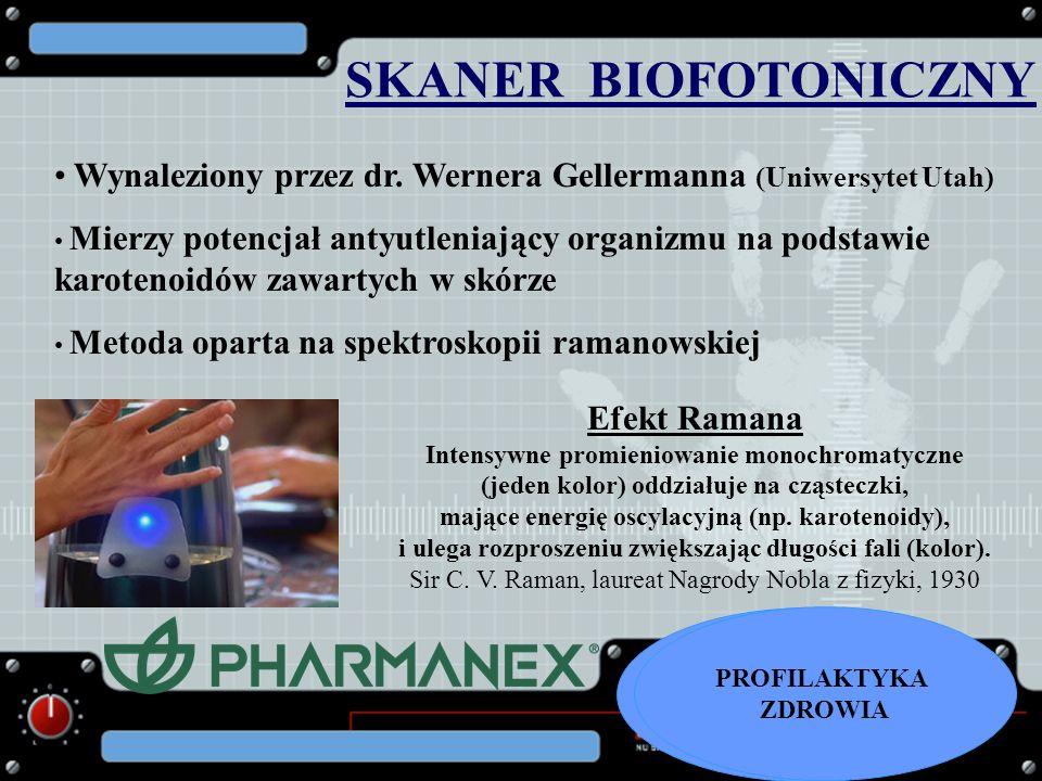 SKANER BIOFOTONICZNY Efekt Ramana Intensywne promieniowanie monochromatyczne (jeden kolor) oddziałuje na cząsteczki, mające energię oscylacyjną (np. k