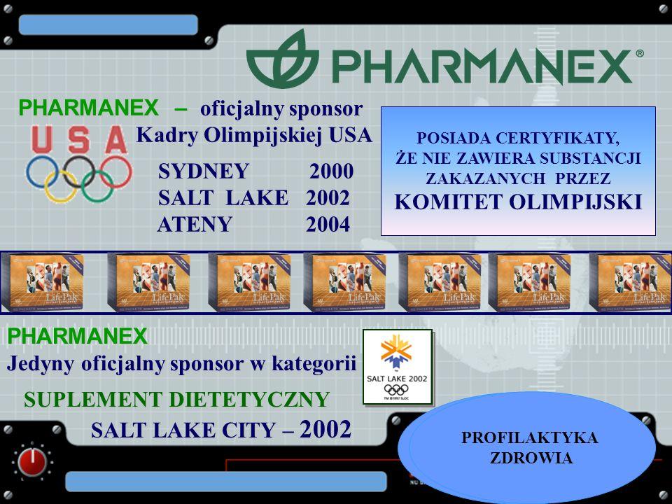 PHARMANEX – oficjalny sponsor Kadry Olimpijskiej USA Kadry Olimpijskiej USA SYDNEY 2000 SYDNEY 2000 SALT LAKE 2002 SALT LAKE 2002 ATENY 2004 ATENY 200