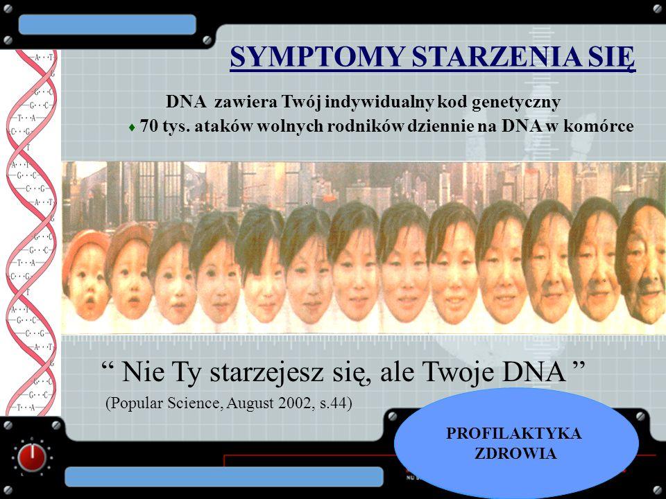 Nie Ty starzejesz się, ale Twoje DNA (Popular Science, August 2002, s.44) SYMPTOMY STARZENIA SIĘ DNA zawiera Twój indywidualny kod genetyczny 70 tys.
