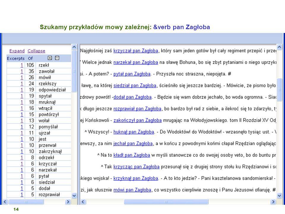 14 Szukamy przykładów mowy zależnej: &verb pan Zagłoba