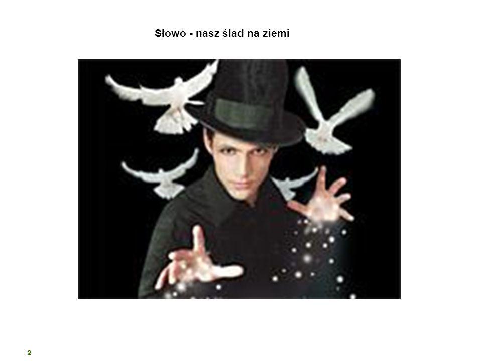 2 Słowo - nasz ślad na ziemi Słowo obnażające lub trawestujące rzeczywistość zachwyca nie inaczej jak nieuchwytne gesty magika, który z pustego kapelu