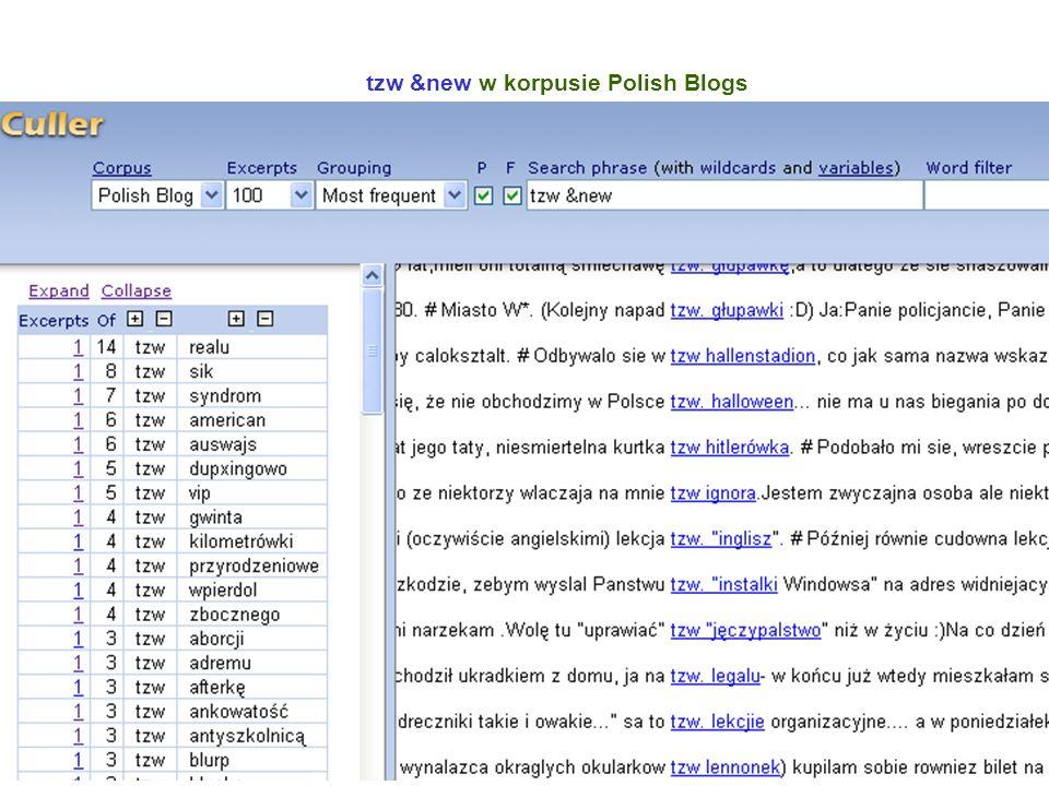 21 tzw &new w korpusie Polish Blogs