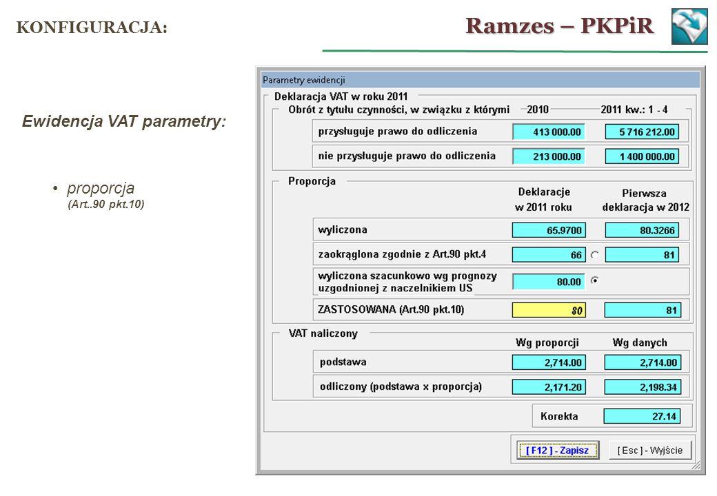 Ewidencja VAT parametry: proporcja (Art..90 pkt.10) Ramzes – PKPiR KONFIGURACJA: