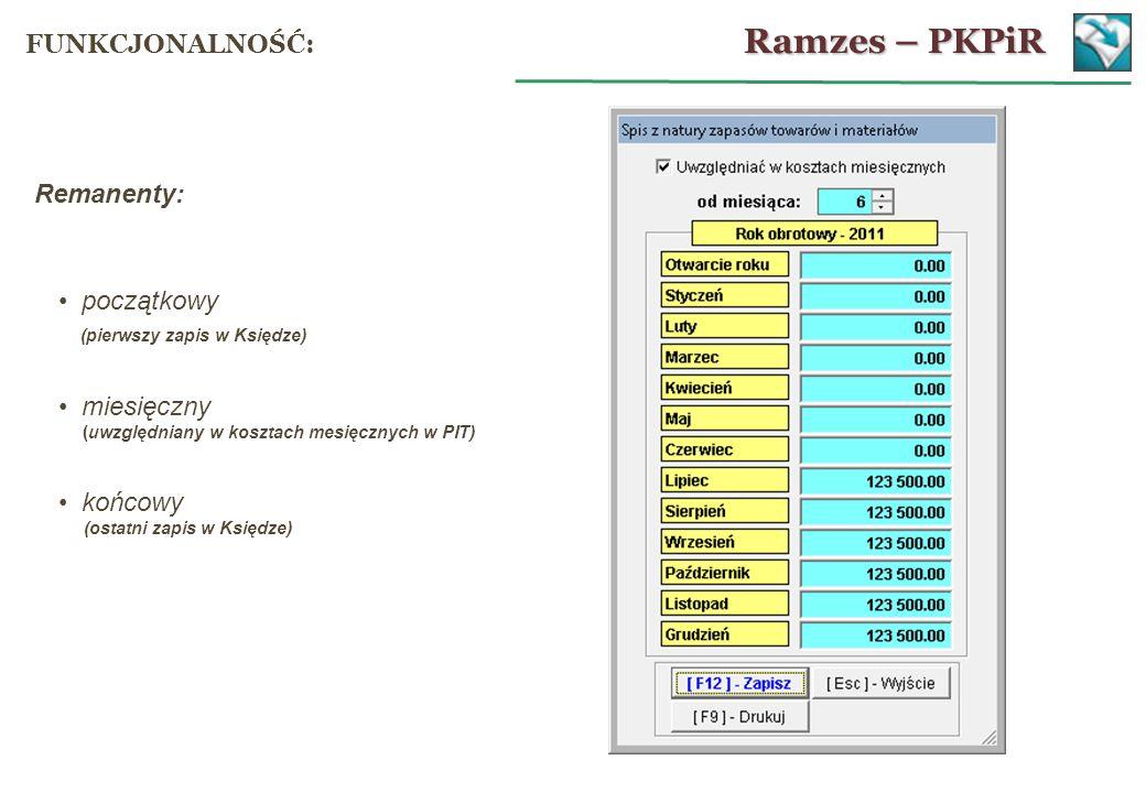 Remanenty: początkowy (pierwszy zapis w Księdze) miesięczny (uwzględniany w kosztach mesięcznych w PIT) końcowy (ostatni zapis w Księdze) Ramzes – PKP