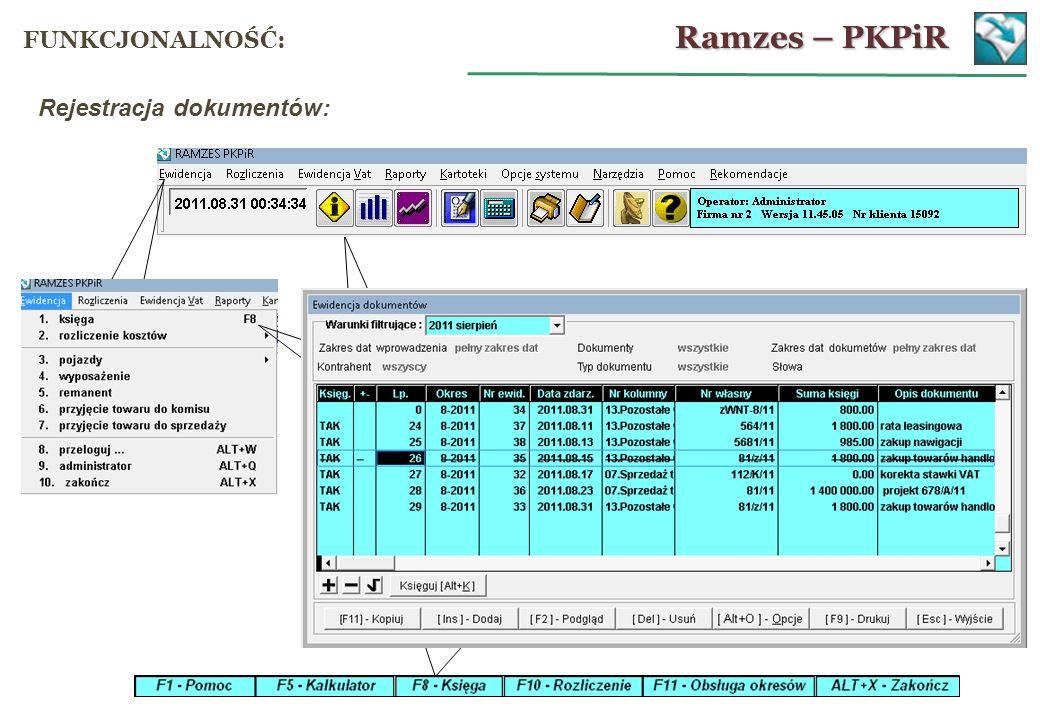 Rejestracja dokumentów: Ramzes – PKPiR FUNKCJONALNOŚĆ: