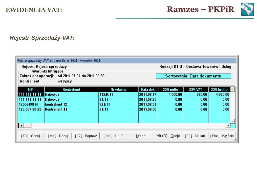 Rejestr Sprzedaży VAT: Ramzes – PKPiR EWIDENCJA VAT: