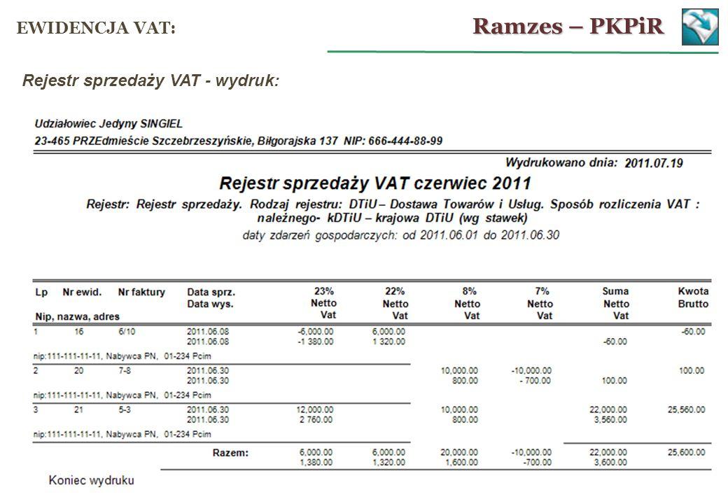 Rejestr sprzedaży VAT - wydruk: Ramzes – PKPiR EWIDENCJA VAT:
