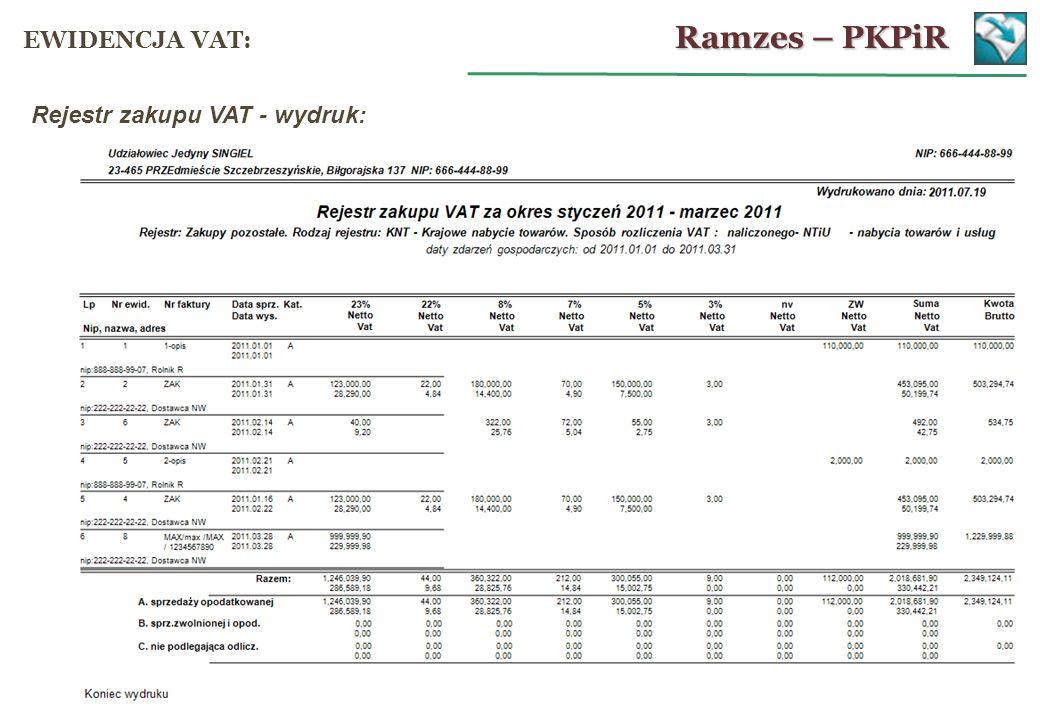 Rejestr zakupu VAT - wydruk: Ramzes – PKPiR EWIDENCJA VAT: