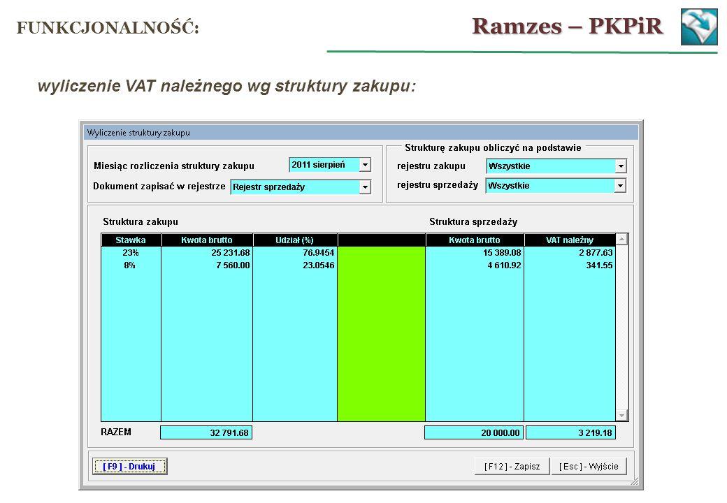 wyliczenie VAT należnego wg struktury zakupu: Ramzes – PKPiR FUNKCJONALNOŚĆ: