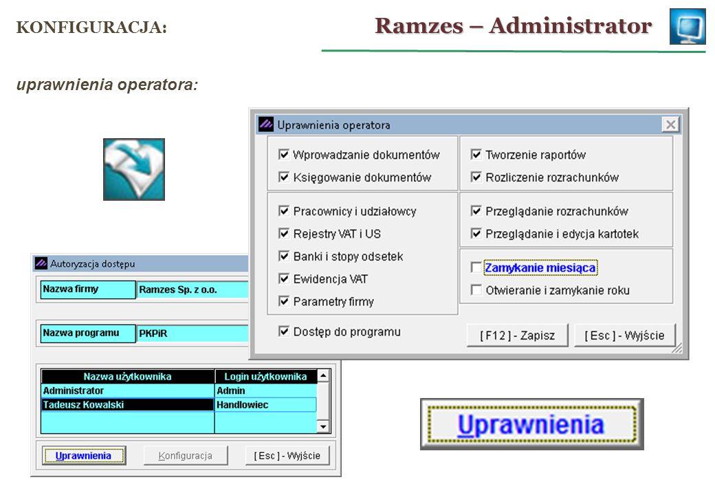 parametry firmy: Ramzes – PKPiR MENU PROGRAMU: