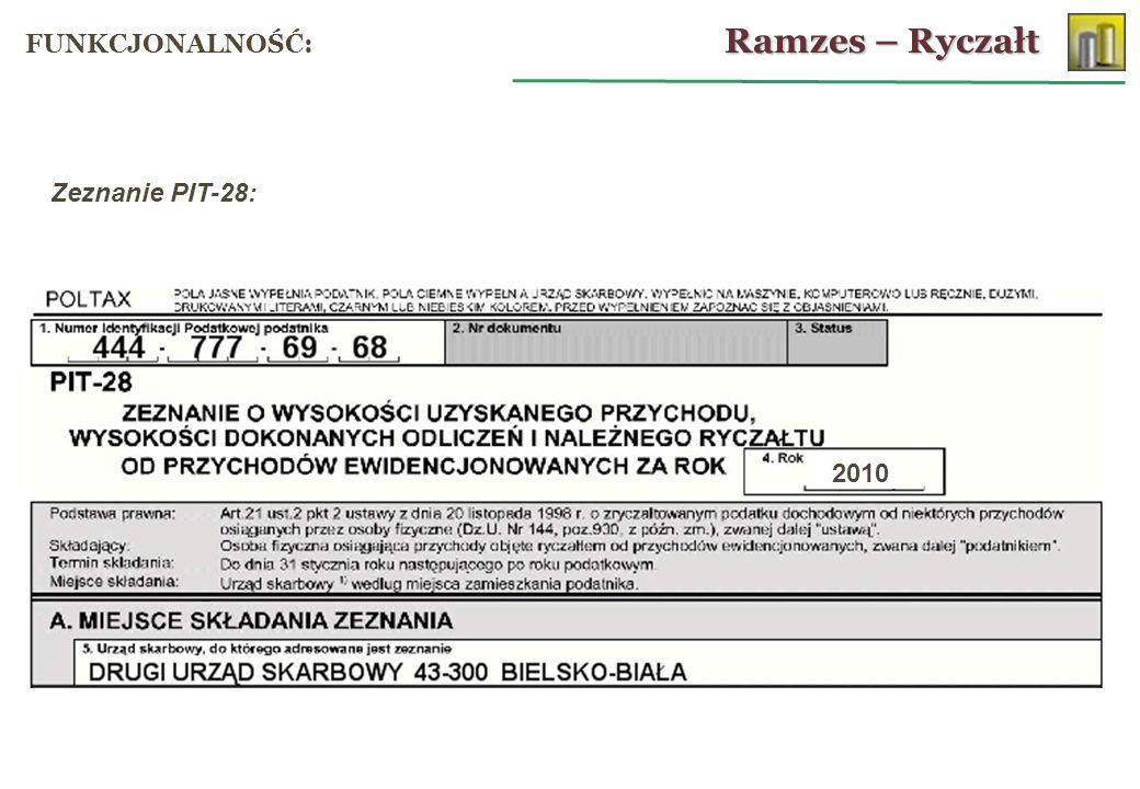 Zeznanie PIT-28: 2010 Ramzes – Ryczałt FUNKCJONALNOŚĆ: