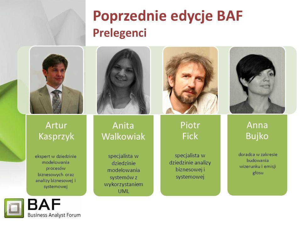 Poprzednie edycje BAF Prelegenci Artur Kasprzyk Anita Walkowiak Piotr Fick Anna Bujko ekspert w dziedzinie modelowania procesów biznesowych oraz analizy biznesowej i systemowej specjalista w dziedzinie modelowania systemów z wykorzystaniem UML doradca w zakresie budowania wizerunku i emisji głosu specjalista w dziedzinie analizy biznesowej i systemowej