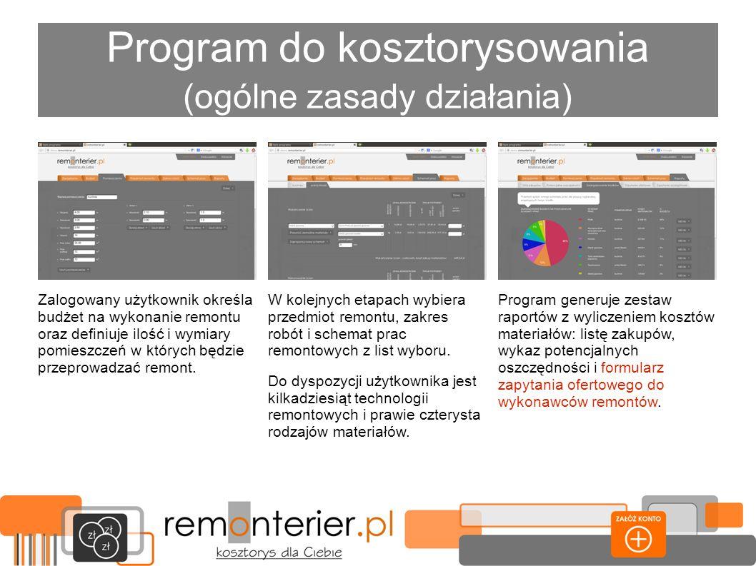 Program do kosztorysowania (ogólne zasady działania) Program generuje zestaw raportów z wyliczeniem kosztów materiałów: listę zakupów, wykaz potencjal