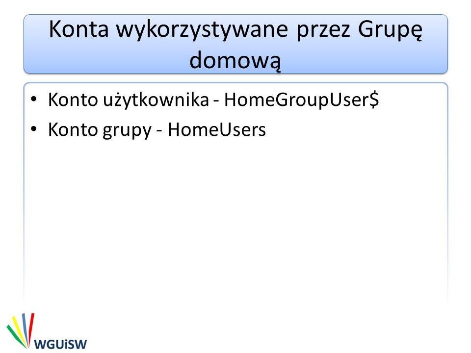 Konta wykorzystywane przez Grupę domową Konto użytkownika - HomeGroupUser$ Konto grupy - HomeUsers