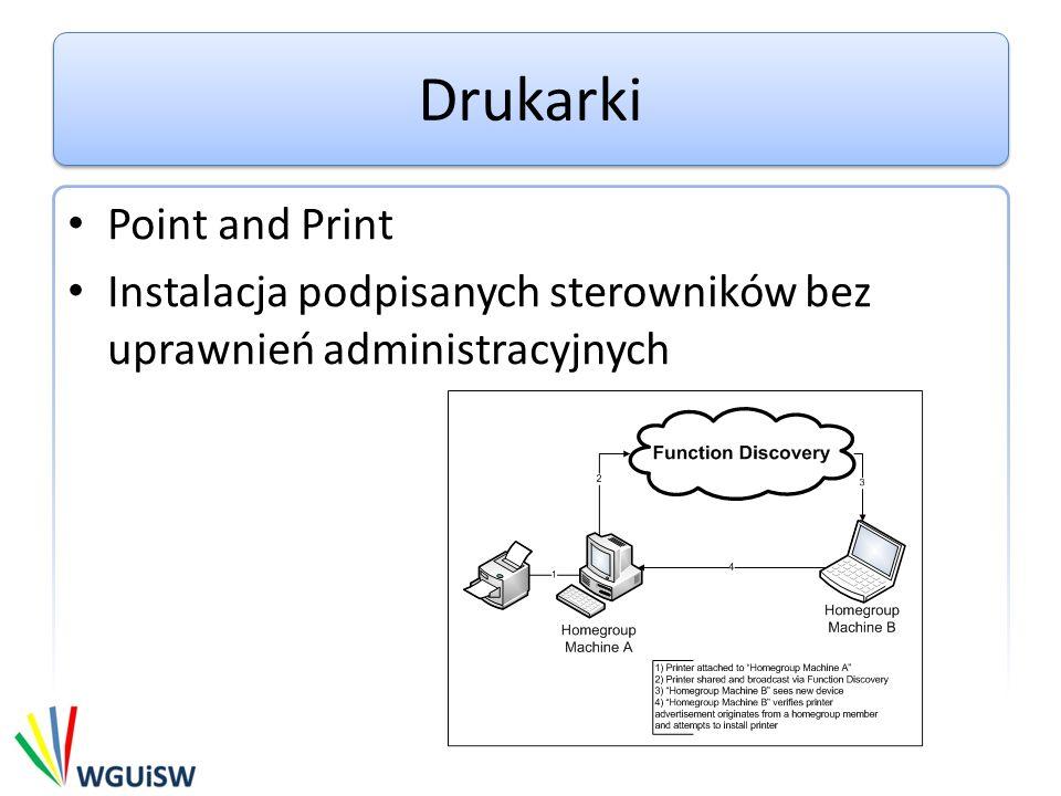 Drukarki Point and Print Instalacja podpisanych sterowników bez uprawnień administracyjnych