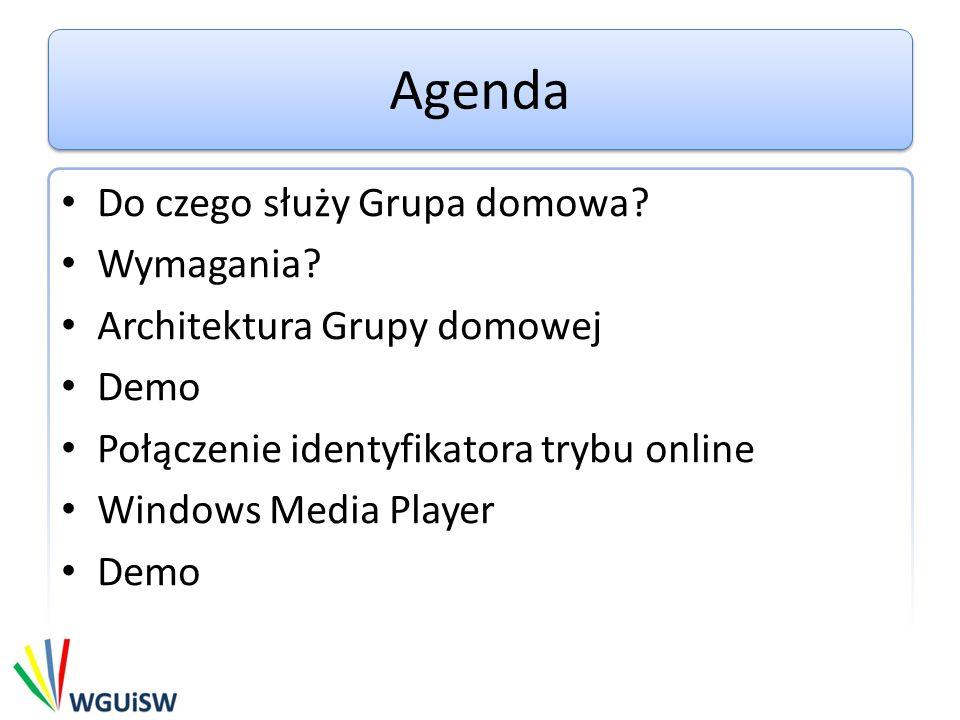 Agenda Do czego służy Grupa domowa? Wymagania? Architektura Grupy domowej Demo Połączenie identyfikatora trybu online Windows Media Player Demo