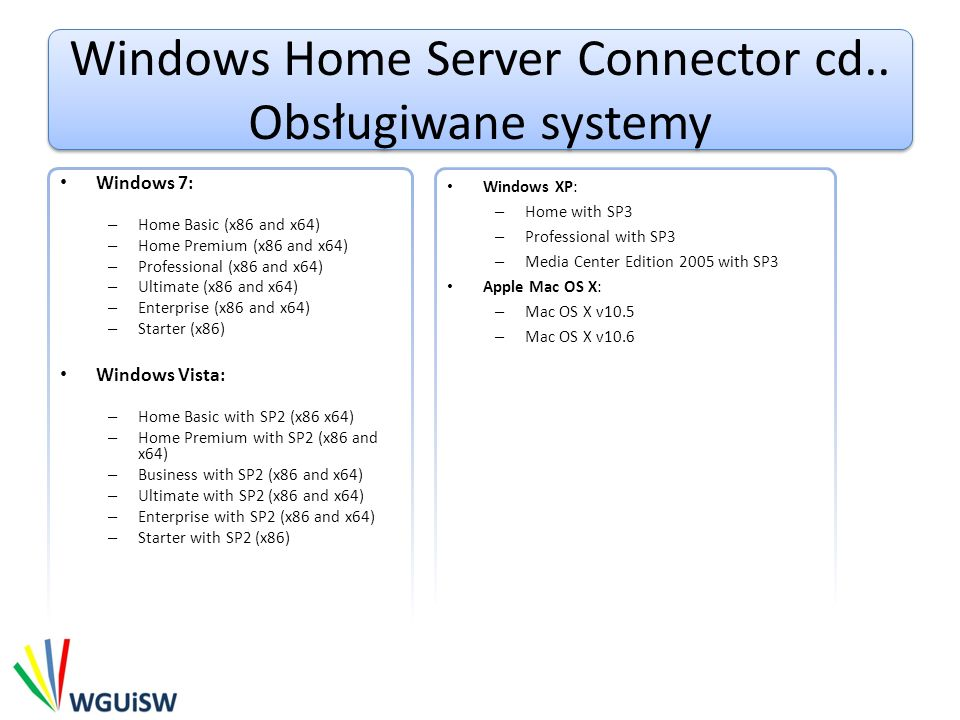 Windows Home Server Connector cd.. Obsługiwane systemy Windows 7: – Home Basic (x86 and x64) – Home Premium (x86 and x64) – Professional (x86 and x64)