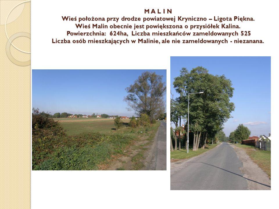 M A L I N Wieś położona przy drodze powiatowej Kryniczno – Ligota Piękna. Wieś Malin obecnie jest powiększona o przysiółek Kalina. Powierzchnia: 624ha
