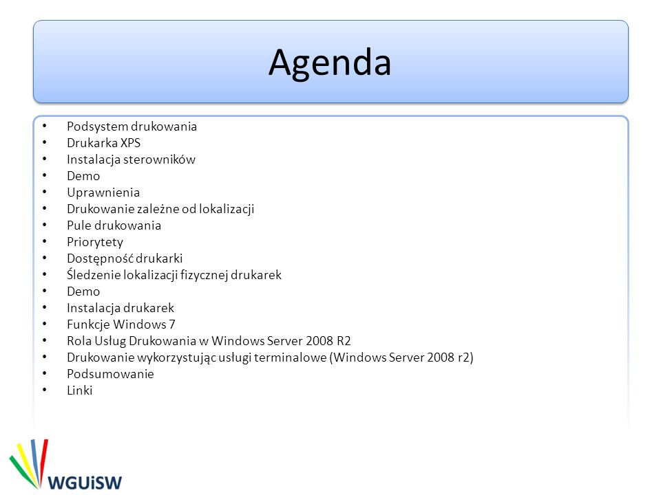 Podsystem drukowania GDI (EMF -> printer) XPS (WYSIWYG - what you see is what you get) WPF Application