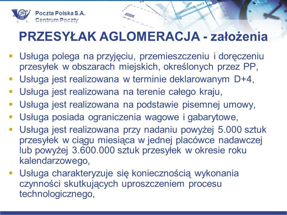 Poczta Polska S.A. Centrum Poczty PRZESYŁAK AGLOMERACJA - założenia Usługa polega na przyjęciu, przemieszczeniu i doręczeniu przesyłek w obszarach mie