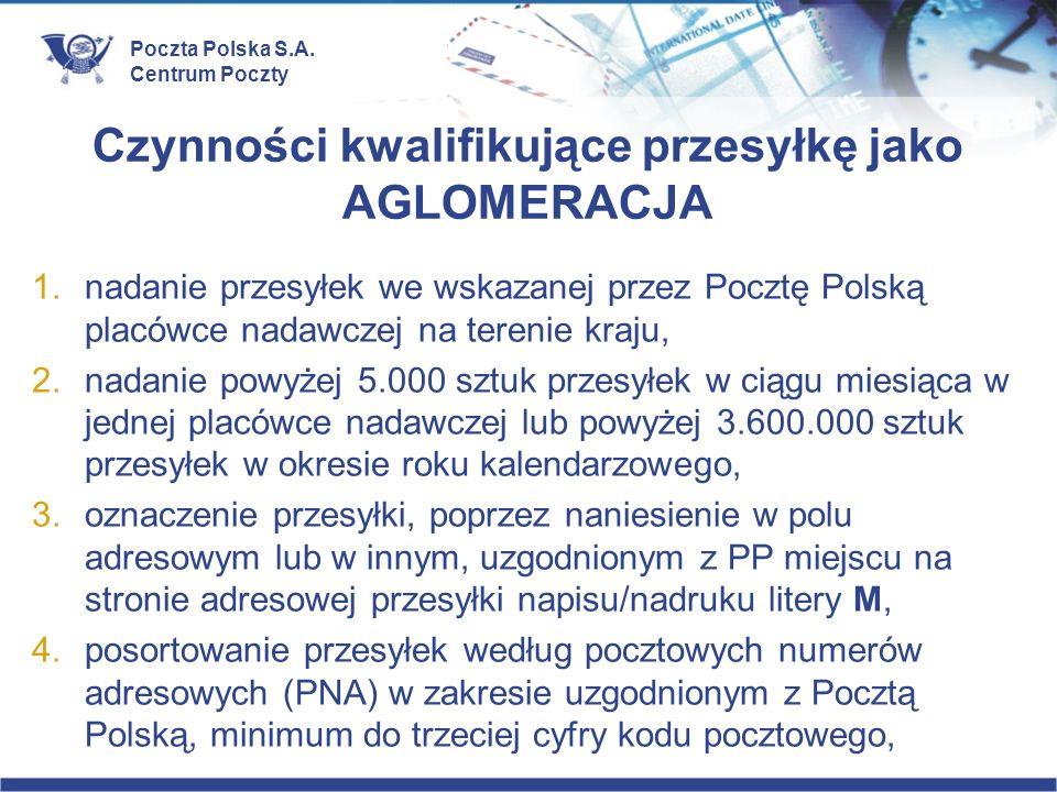 Poczta Polska S.A. Centrum Poczty Czynności kwalifikujące przesyłkę jako AGLOMERACJA 1.nadanie przesyłek we wskazanej przez Pocztę Polską placówce nad