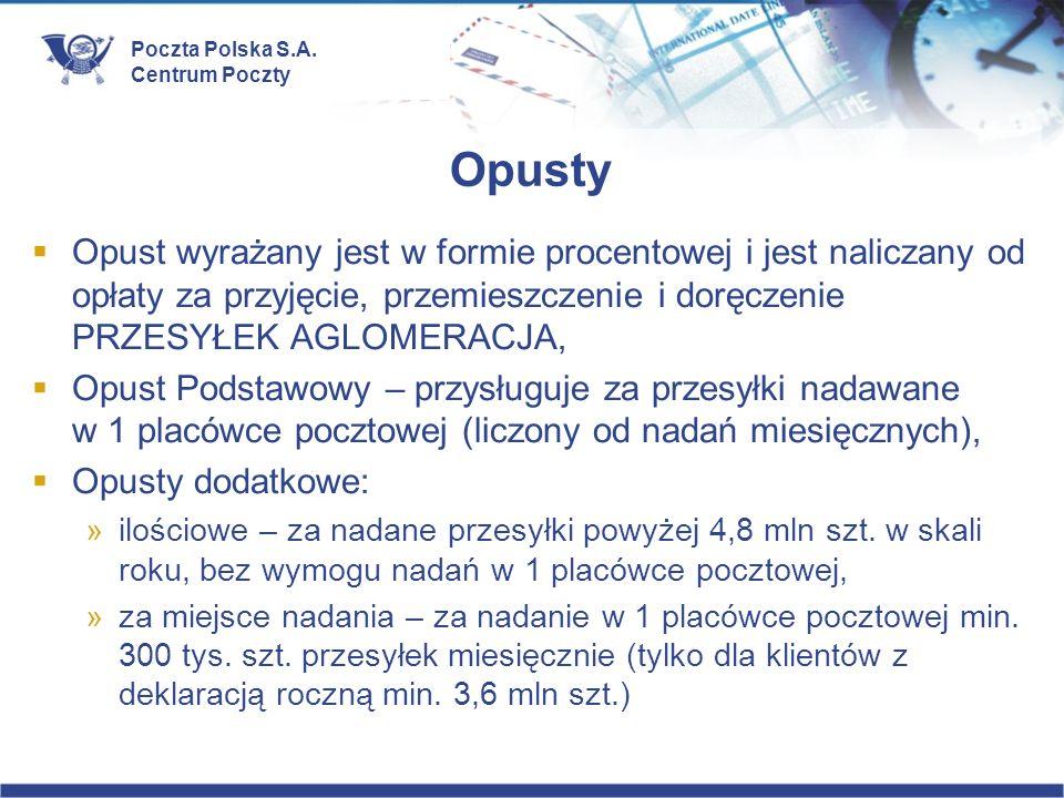Poczta Polska S.A. Centrum Poczty Opusty Opust wyrażany jest w formie procentowej i jest naliczany od opłaty za przyjęcie, przemieszczenie i doręczeni