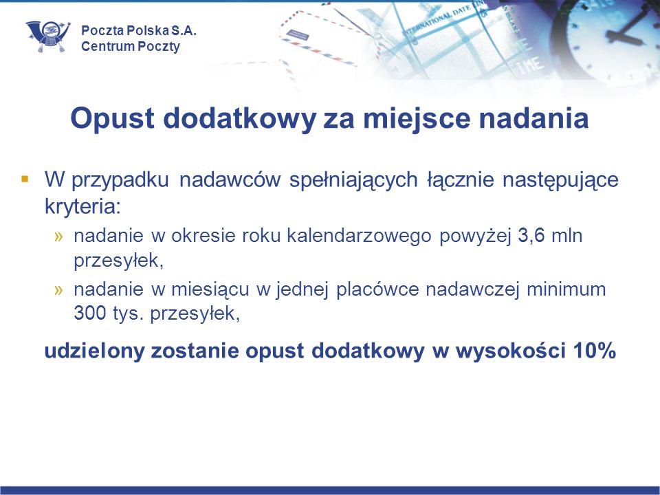 Poczta Polska S.A. Centrum Poczty Opust dodatkowy za miejsce nadania W przypadku nadawców spełniających łącznie następujące kryteria: »nadanie w okres