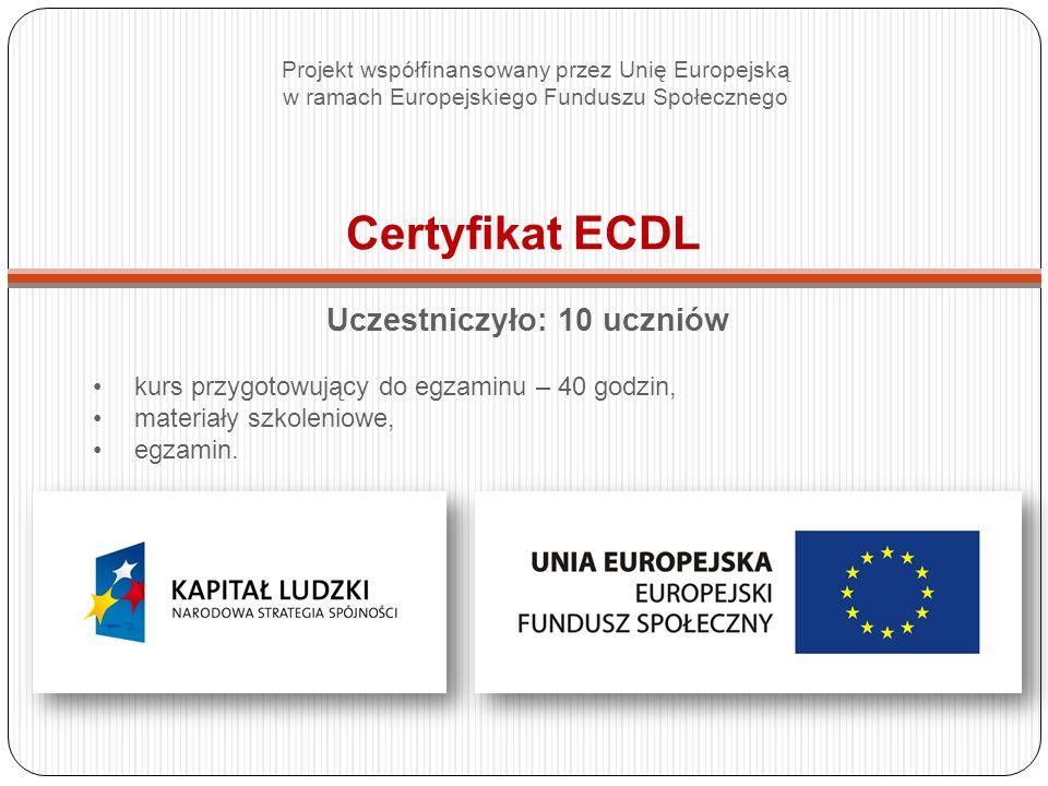 Certyfikat ECDL Uczestniczyło: 10 uczniów kurs przygotowujący do egzaminu – 40 godzin, materiały szkoleniowe, egzamin.
