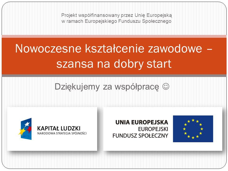 Dziękujemy za współpracę Nowoczesne kształcenie zawodowe – szansa na dobry start Projekt współfinansowany przez Unię Europejską w ramach Europejskiego Funduszu Społecznego