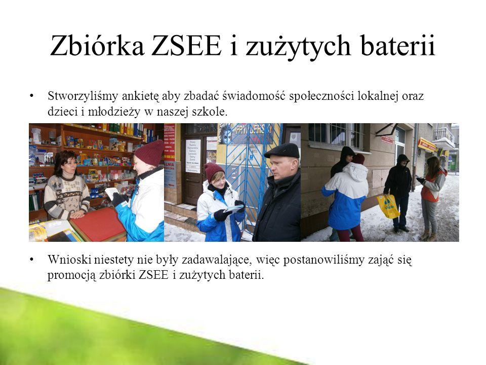 Zbiórka ZSEE i zużytych baterii Stworzyliśmy ankietę aby zbadać świadomość społeczności lokalnej oraz dzieci i młodzieży w naszej szkole. Wnioski nies