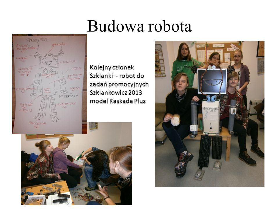 Budowa robota Kolejny członek Szklanki - robot do zadań promocyjnych Szklankowicz 2013 model Kaskada Plus