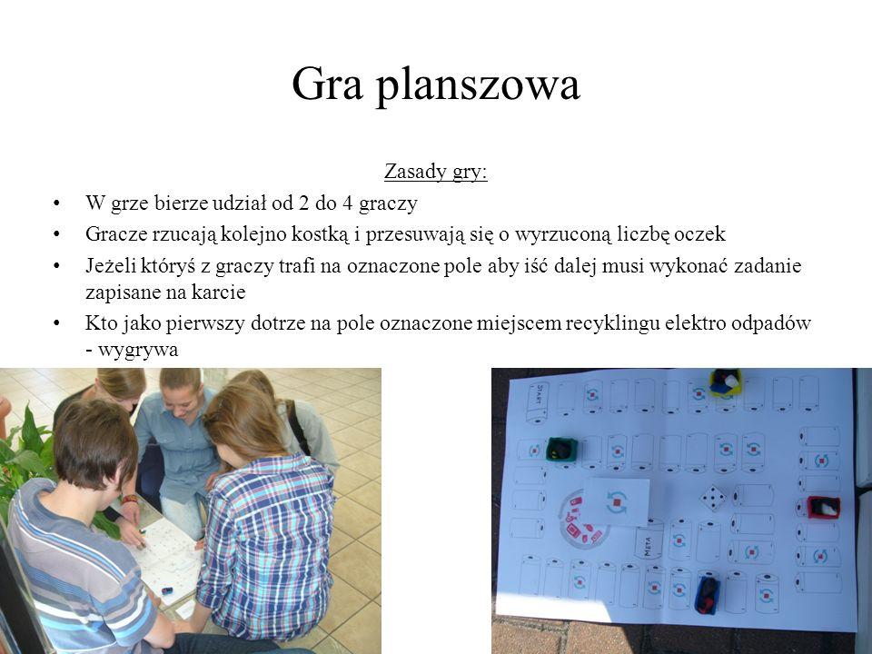 Gra planszowa Zasady gry: W grze bierze udział od 2 do 4 graczy Gracze rzucają kolejno kostką i przesuwają się o wyrzuconą liczbę oczek Jeżeli któryś