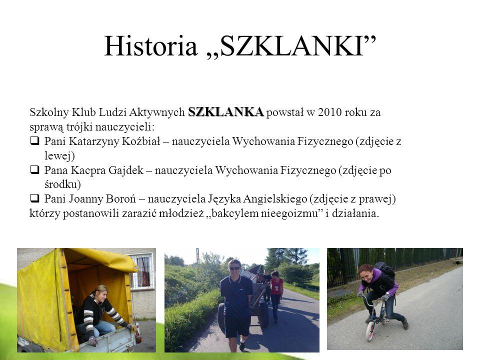 Historia SZKLANKI SZKLANKA Szkolny Klub Ludzi Aktywnych SZKLANKA powstał w 2010 roku za sprawą trójki nauczycieli: Pani Katarzyny Koźbiał – nauczyciel