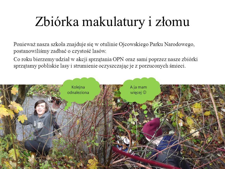 Zbiórka makulatury i złomu Ponieważ nasza szkoła znajduje się w otulinie Ojcowskiego Parku Narodowego, postanowiliśmy zadbać o czystość lasów. Co roku