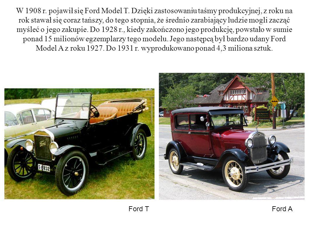W 1908 r. pojawił się Ford Model T. Dzięki zastosowaniu taśmy produkcyjnej, z roku na rok stawał się coraz tańszy, do tego stopnia, że średnio zarabia