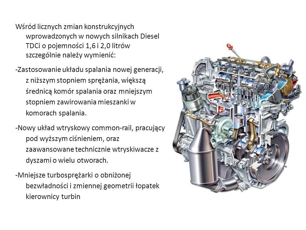 Wśród licznych zmian konstrukcyjnych wprowadzonych w nowych silnikach Diesel TDCi o pojemności 1,6 i 2,0 litrów szczególnie należy wymienić: -Zastosow