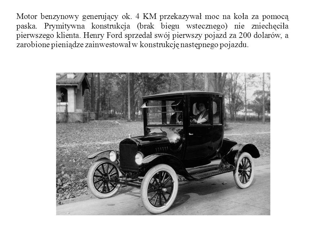 Motor benzynowy generujący ok. 4 KM przekazywał moc na koła za pomocą paska. Prymitywna konstrukcja (brak biegu wstecznego) nie zniechęciła pierwszego