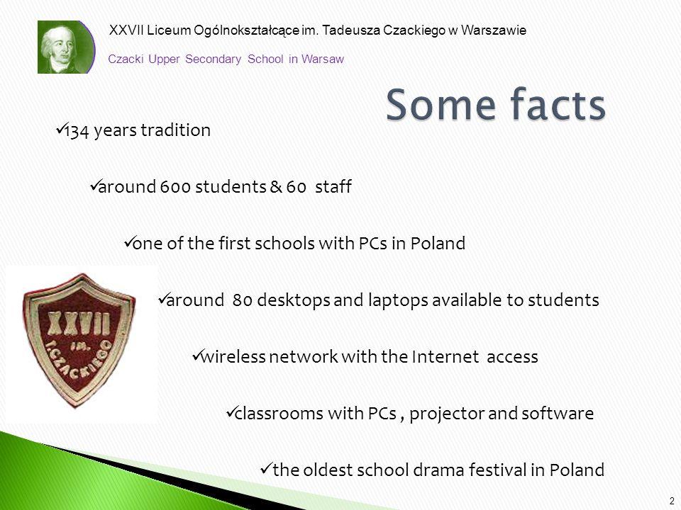 XXVII Liceum Ogólnokształcące im. Tadeusza Czackiego w Warszawie 2 134 years tradition around 600 students & 60 staff one of the first schools with PC